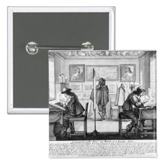 Plate engravers working with gallery 15 cm square badge