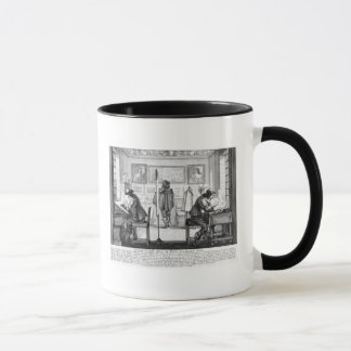 Plate engravers working with gallery mug