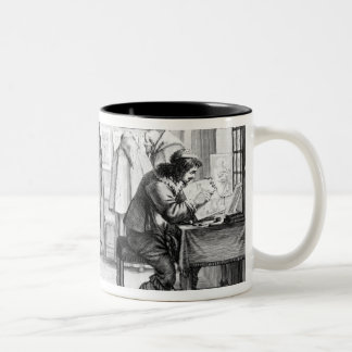 Plate engravers working with gallery Two-Tone coffee mug