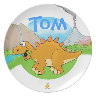"plate for kids with name ""DINOS """
