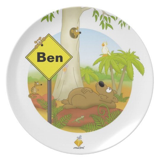 """plate for kids with name """"WOMBAT"""""""