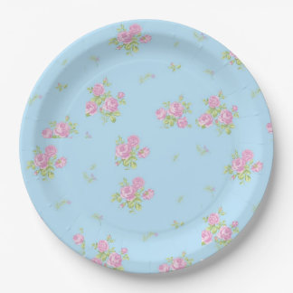 Plate for vintage food with flowers blue pink 9 inch paper plate