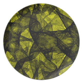 Plate fractal art black and yellow