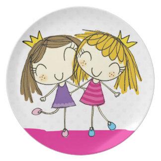 PLATE Friends / sisters pink princess