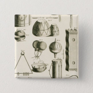 Plate II: Ancient and modern percussion instrument 15 Cm Square Badge