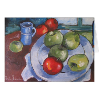 Plate, jug and fruit greeting card