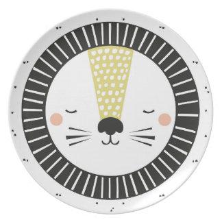 Plate lion mustard