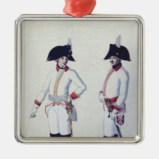 Plate of a soldier in red, yellow & white Silver-Colored square decoration