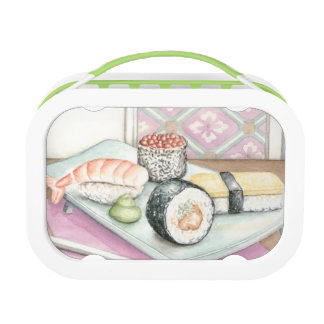 Plate of Assorted Sushi with Chopsticks