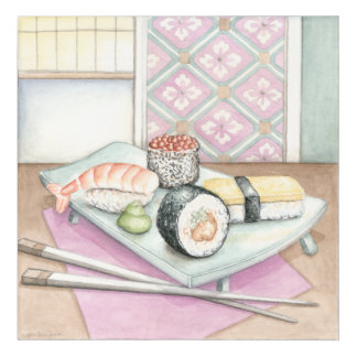 Plate of Assorted Sushi with Chopsticks Acrylic Print