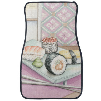 Plate of Assorted Sushi with Chopsticks Car Mat