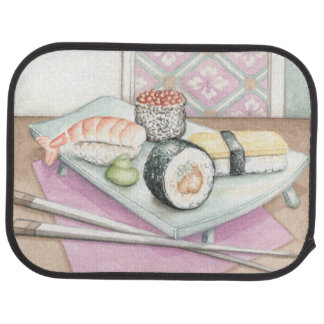 Plate of Assorted Sushi with Chopsticks Floor Mat