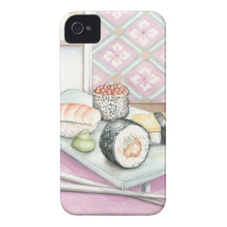 Plate of Assorted Sushi with Chopsticks iPhone 4 Case