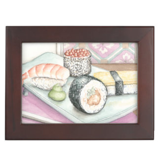 Plate of Assorted Sushi with Chopsticks Memory Box