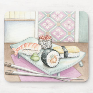 Plate of Assorted Sushi with Chopsticks Mouse Pad