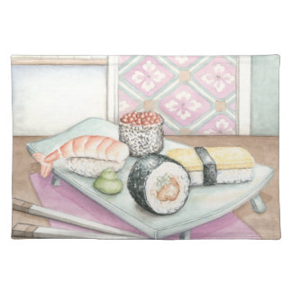 Plate of Assorted Sushi with Chopsticks Placemat