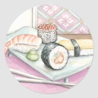 Plate of Assorted Sushi with Chopsticks Round Sticker