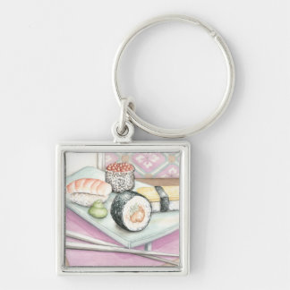 Plate of Assorted Sushi with Chopsticks Silver-Colored Square Key Ring