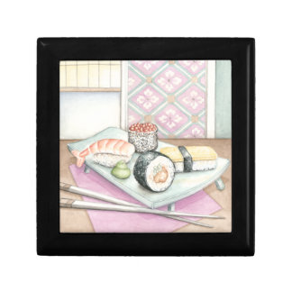 Plate of Assorted Sushi with Chopsticks Small Square Gift Box
