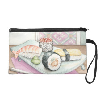 Plate of Assorted Sushi with Chopsticks Wristlet