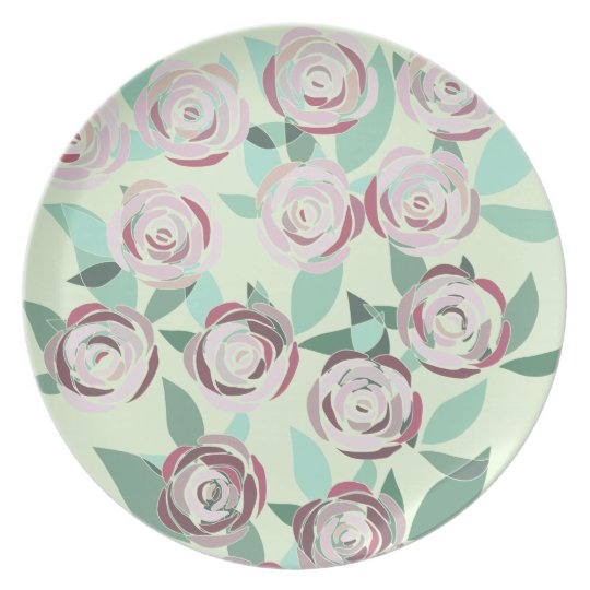 Plate of Melamine Vitral Bouquet of Roses
