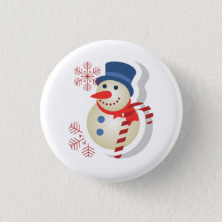 Plate of snowman 3 cm round badge