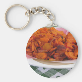 Plate of stir-fried carrots basic round button key ring