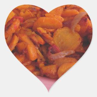 Plate of stir-fried carrots heart sticker