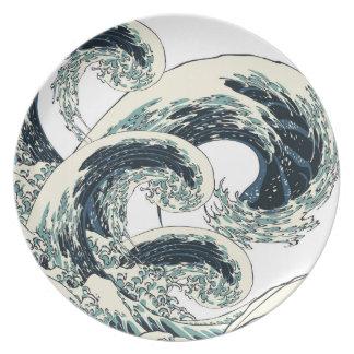 Plate of ukiyoe Kanagawa open sea 浪 reverse side