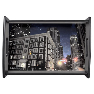 Plate, photograph of city the night serving tray