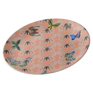 Plate porcelain multi butterflies