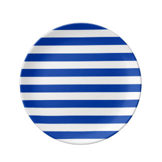 Plate with blue stripes