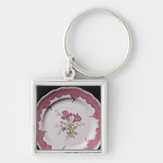 Plate with botanical design key ring