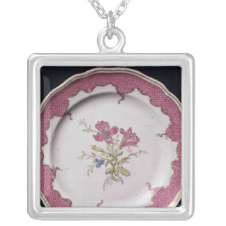 Plate with botanical design silver plated necklace
