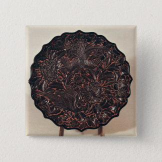 Plate with floral motifs and two birds 15 cm square badge