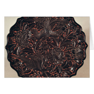 Plate with floral motifs and two birds greeting cards