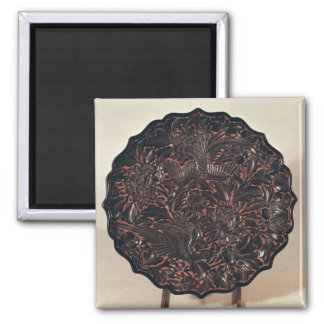 Plate with floral motifs and two birds magnet
