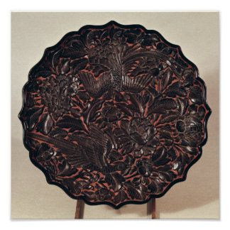 Plate with floral motifs and two birds poster