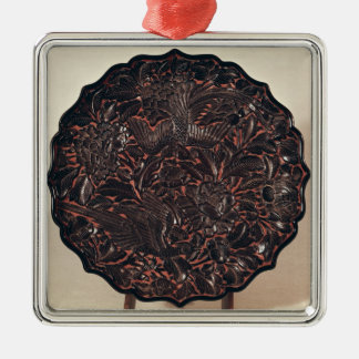 Plate with floral motifs and two birds Silver-Colored square decoration