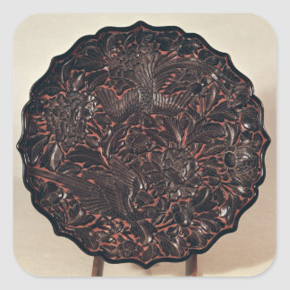 Plate with floral motifs and two birds square sticker