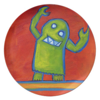 Plate with Green Robot Guy