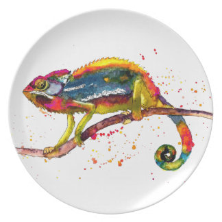 Plate with handpainted chameleon