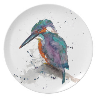 Plate with handpainted kingfisher