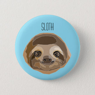 Plate with illustration of Sluggish - a Sloth 6 Cm Round Badge
