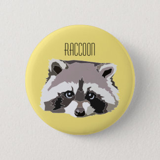 Plate with illustration Raccoon 6 Cm Round Badge