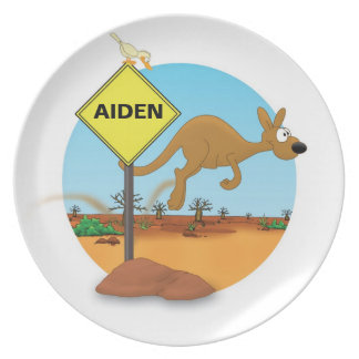 """plate with name for kids """"KANGAROO """""""