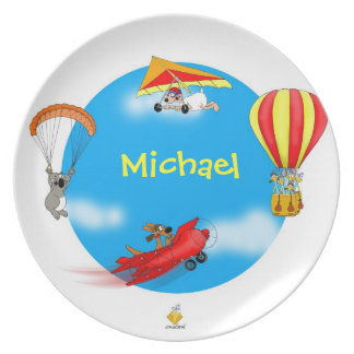 "plate with name for kids ""LITTLE PILOTS """