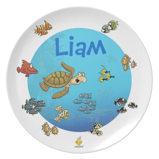 "plate with name for kids ""more under the sea """