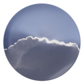 plate with photo of cloud with silver lining