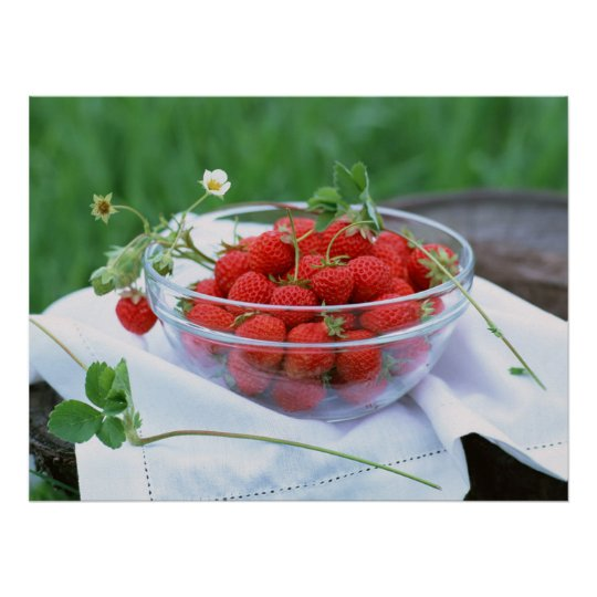 Plate with strawberry poster